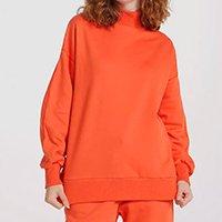 Blusão Moletom Feminino Oversized Peluciado Gola Alta - Laranja