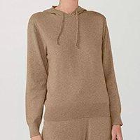 Blusão Feminino Com Capuz Em Tricot Com Algodão - Marrom