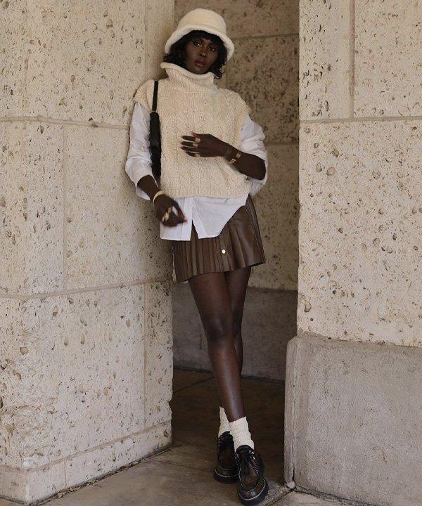 Amy Julliette Lefévre - colete de tricô - colete de tricot - outono - street style - https://stealthelook.com.br