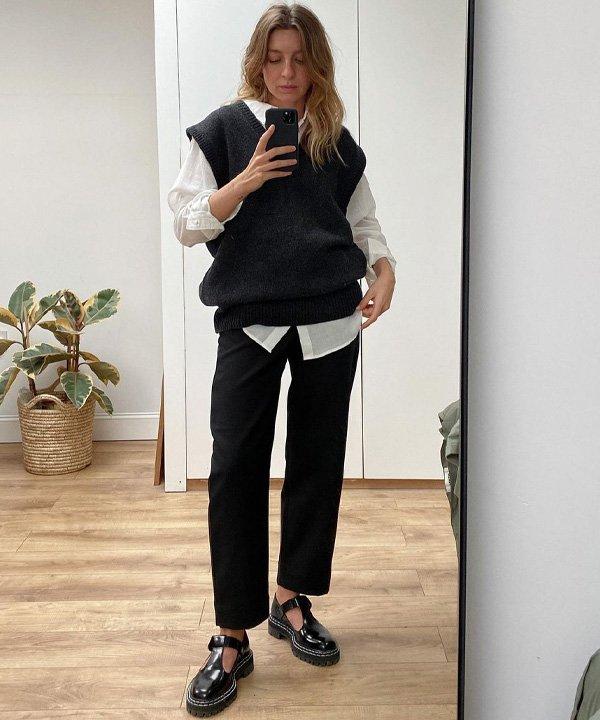 Brittany Bathgate - colete de tricô - colete de tricot - outono - street style - https://stealthelook.com.br