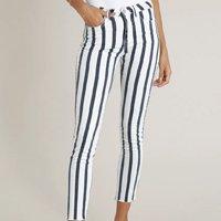 calça de sarja feminina skinny listrada branca