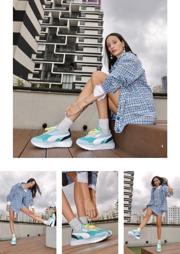 Jéssica Menasce - vestido-xadrez - tênis - outono - street-style - https://stealthelook.com.br