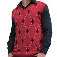 Colete Pulôver Masculino Shopping do Tricô Inverno Lã Xadrez