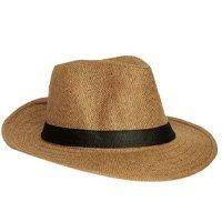 Chapéu Panamá Palha Aba Curta Faixa Preta Cor Dourado - Ns