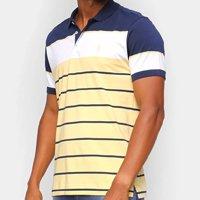 Camisa Polo Aleatory Listrada Masculina - Amarelo+Marinho