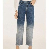 Calça Iódice Mom Cós Alto Barra Desfiada Jeans Feminina - Azul