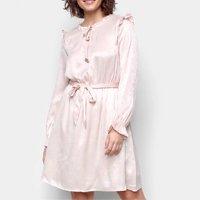 Vestido Curto Road Mel Manga Longa Amarração - Off White