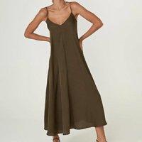 Vestido Zinzane Acetinado Amarração Costas M - MARROM - Verde Militar