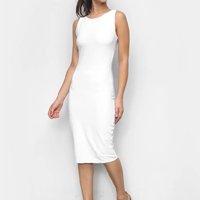 Vestido Tubinho Lança Perfume Liso Feminino - Branco