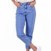 Calça Jeans Mom Aplicação Lateral Pop Me Feminina - Azul
