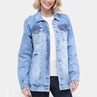 Jaqueta Jeans Ecxo Estonada Alongada Feminina - Azul Claro