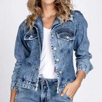 Jaqueta Jeans Destroyed - Azul