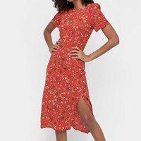 Vestido Los Wear Evasê Midi Corte Lateral - Vermelho