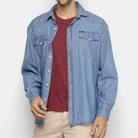 Camisa Jeans Manga Longa Wrangler Bolsos Masculina - Azul