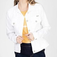 Jaqueta Jeans tipo Moletom Leny Classica Color - Branco