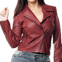 Jaqueta Parra Couros feminina Motoqueira cor vermelho tamanho M