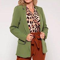 Blazer Bisô Liso Feminino - Verde