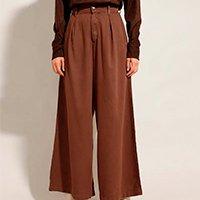 calça wide pantalona alfaiataria com pregas cintura alta mindset marrom