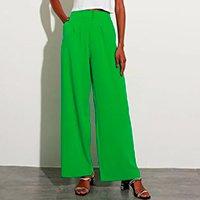calça alfaiataria pantalona cintura super alta mindset verde