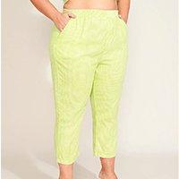 calça feminina plus size mindset cropped cintura super alta estampada xadrez verde