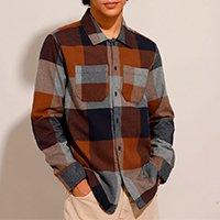 camisa tradicional de flanela estampada xadrez manga longa marrom