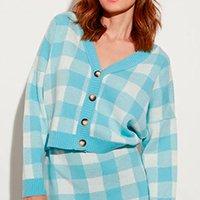 cardigan amplo de tricô estampado xadrez vichy decote v mindset azul claro