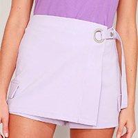 short saia transpassado com argola e bolsos cintura alta lilás