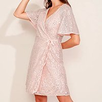 vestido de paetê feminino curto envelope manga curta ampla rosê