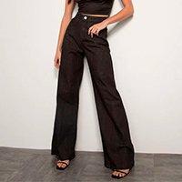 calça wide pantalona jeans cintura super alta mindset preta