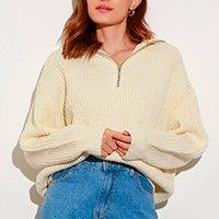 suéter oversized de tricô canelado com meio zíper mindset bege claro