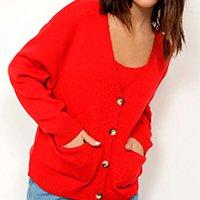 cardigan oversized de tricô com bolsos decote v mindset vermelho