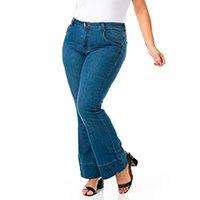 Calça Jeans Confidencial Extra Plus Size Flare Feminina - Azul