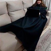 Cobertor com Mangas - Preto - 1,90m x 1,50m - Dryas
