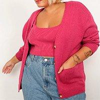 cardigan oversized de tricô plus size com bolsos decote v mindset rosa escuro