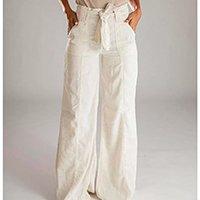 Calça Pantalona Wide Leg Linho Mikonos Santé Denim Feminina - Off White