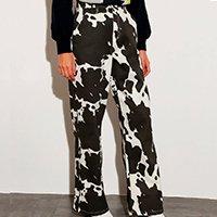 calça reta de sarja estampada animal print vaca cintura super alta mindset off white