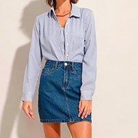 camisa de algodão listrada manga longa azul