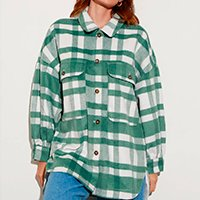 jaqueta shacket de flanela estampada xadrez com bolsos verde