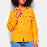 Camisa Favorita\'s Manga Longa Bolsos Feminina - Amarelo