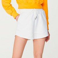 Shorts Feminino Em Moletom De Algodão Com Amarração - Off White
