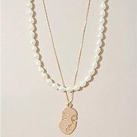 kit de 2 colares femininos de pérola com pingente dourado - único