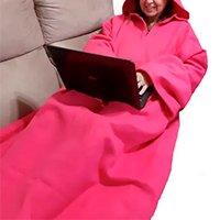 Cobertor com Mangas e Capuz Fechado - Rosa Chiclete - 1,90m x 1,50m - Dryas