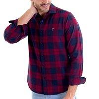 Camisa Casual Slim Kassis Flanela Masculina - Vermelho