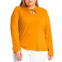 Blusa Detalhe Decote Rovitex Plus Feminina - Amarelo
