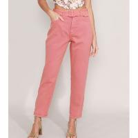 calça mom de sarja com cinto cintura super alta rosa escuro
