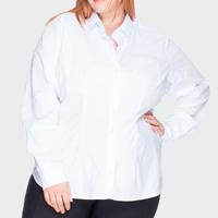 Camisa Acinturada Bold Algodão com Elastano Plus Size -58 Feminina - Branco