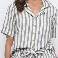 Camisa Manga Curta Malwee Listrada Feminina - Cinza