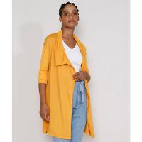 capa de tricô feminina longa com manga canelada mostarda
