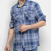 Camisa Xadrez Manga Longa Gajang Lumber Masculina - Azul