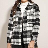 jaqueta shacket estampada xadrez com bolsos preta ☆☆☆☆☆(0)